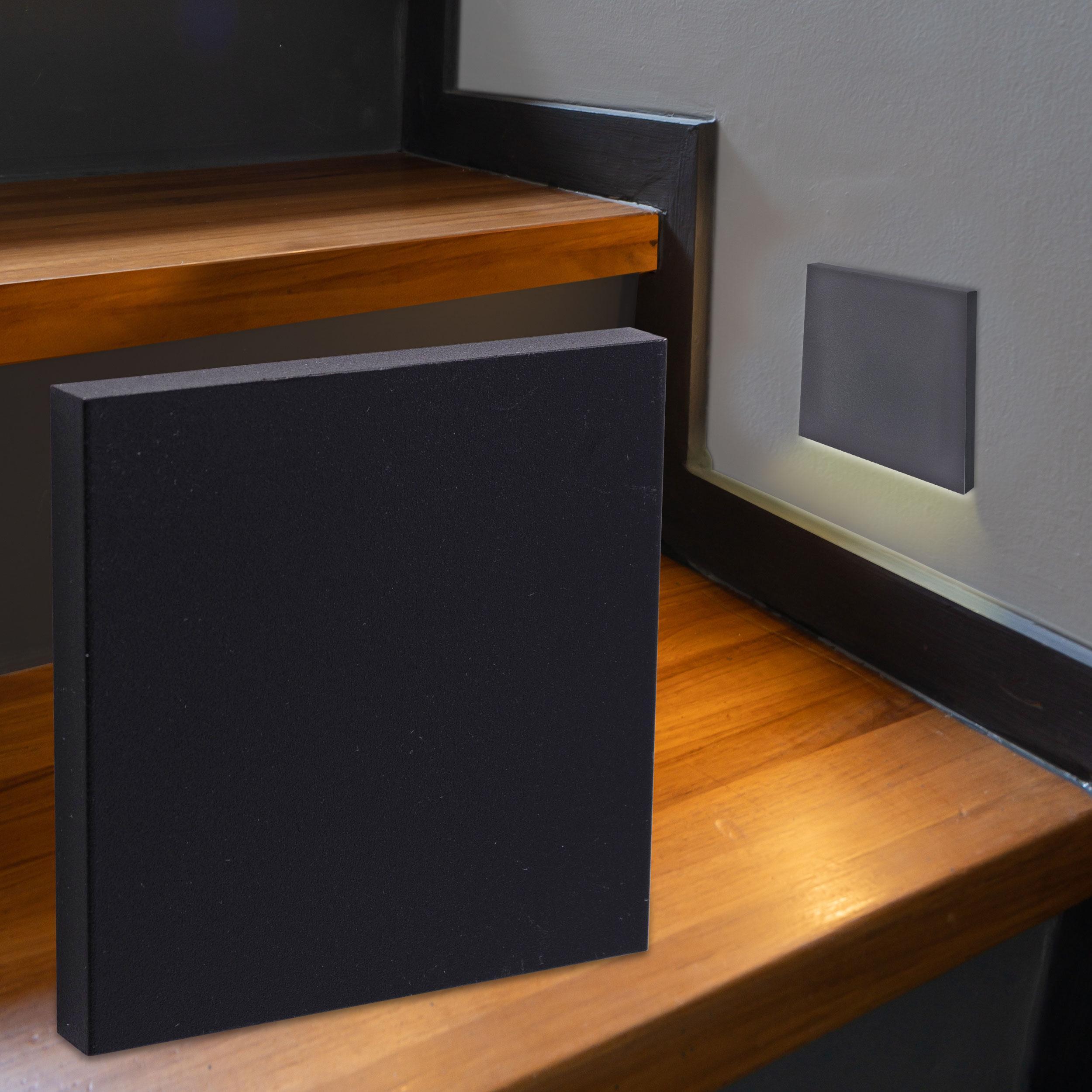 LED Treppenbeleuchtung Wandeinbauleuchte Warmweiß 230V 1.5W schwarz Lichtaustritt unten