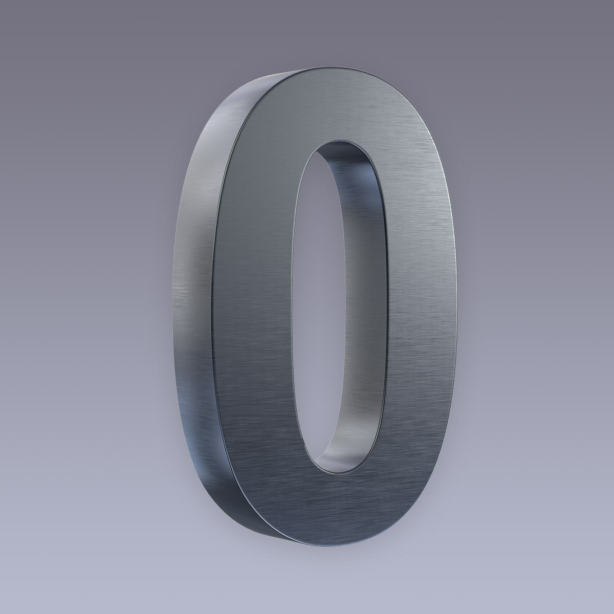 3D Hausnummer 0 Edelstahl anthrazit RAL7016 in 3D Design Arial