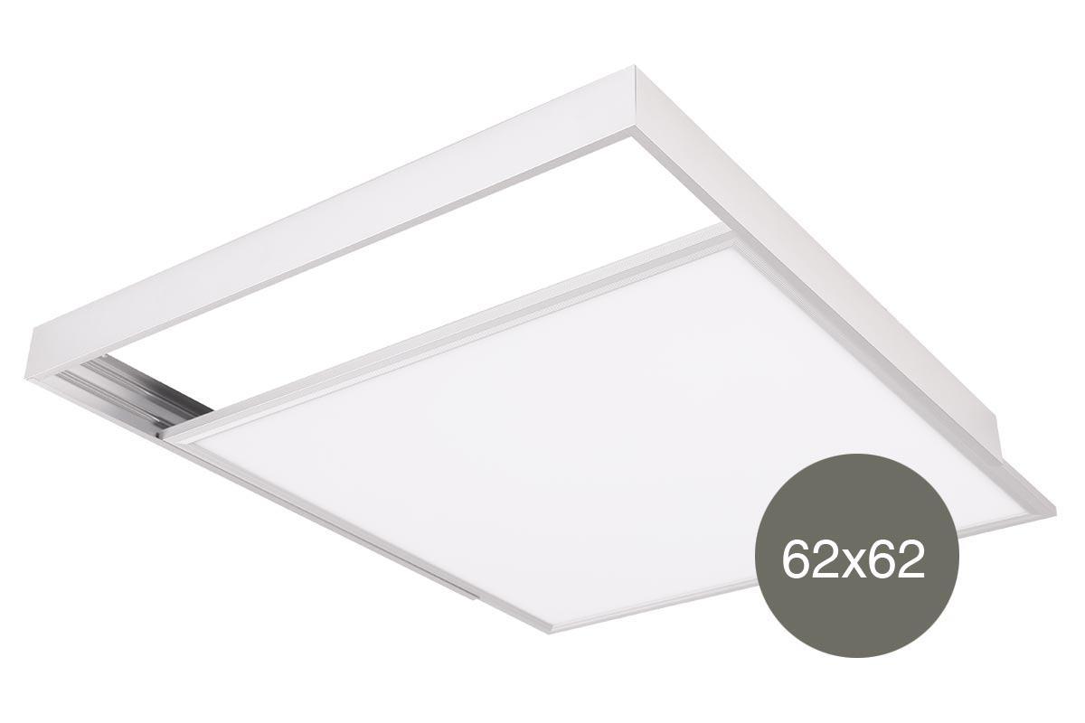 LED Panel Aufbaurahmen Click 62x62cm weiß Aufputz Montagerahmen