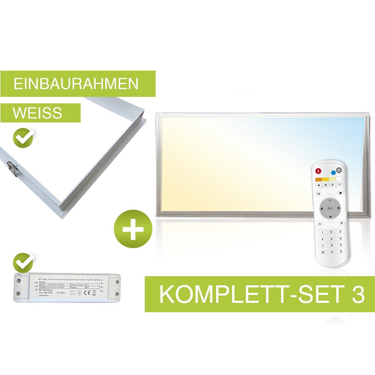 CCT LED Panel Set 60x30cm 24W 3000-6000K inkl. Einbau-Rahmen weiss, Netzteil und FB