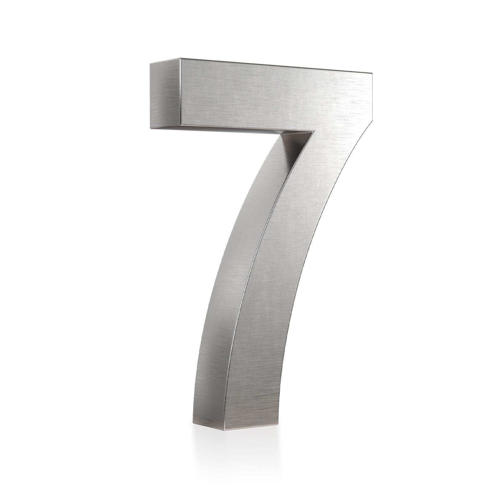 3D Hausnummer 7 Edelstahl in 3D Design Arial V2A