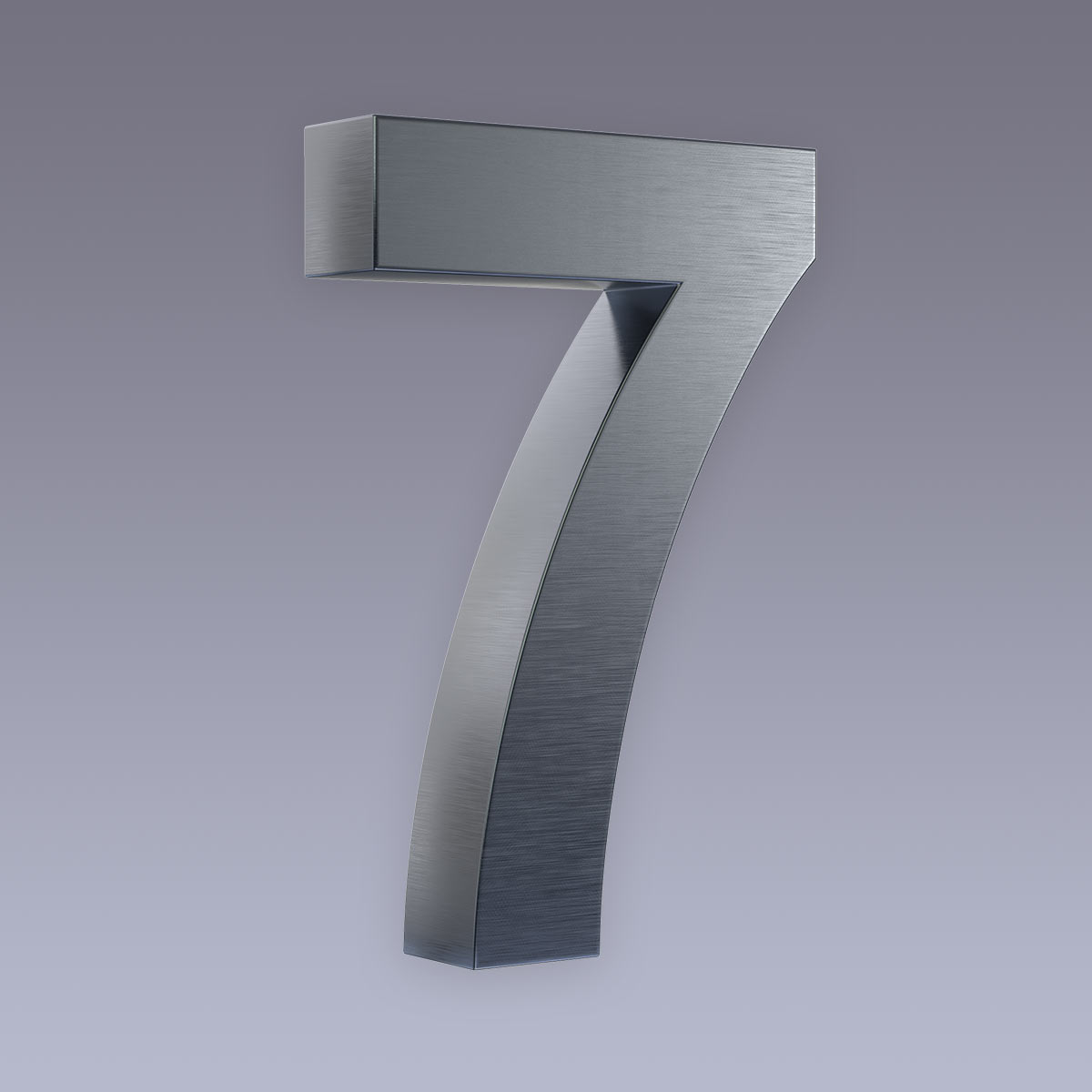 3D Hausnummer 7 Edelstahl anthrazit RAL7016 in 3D Design Arial