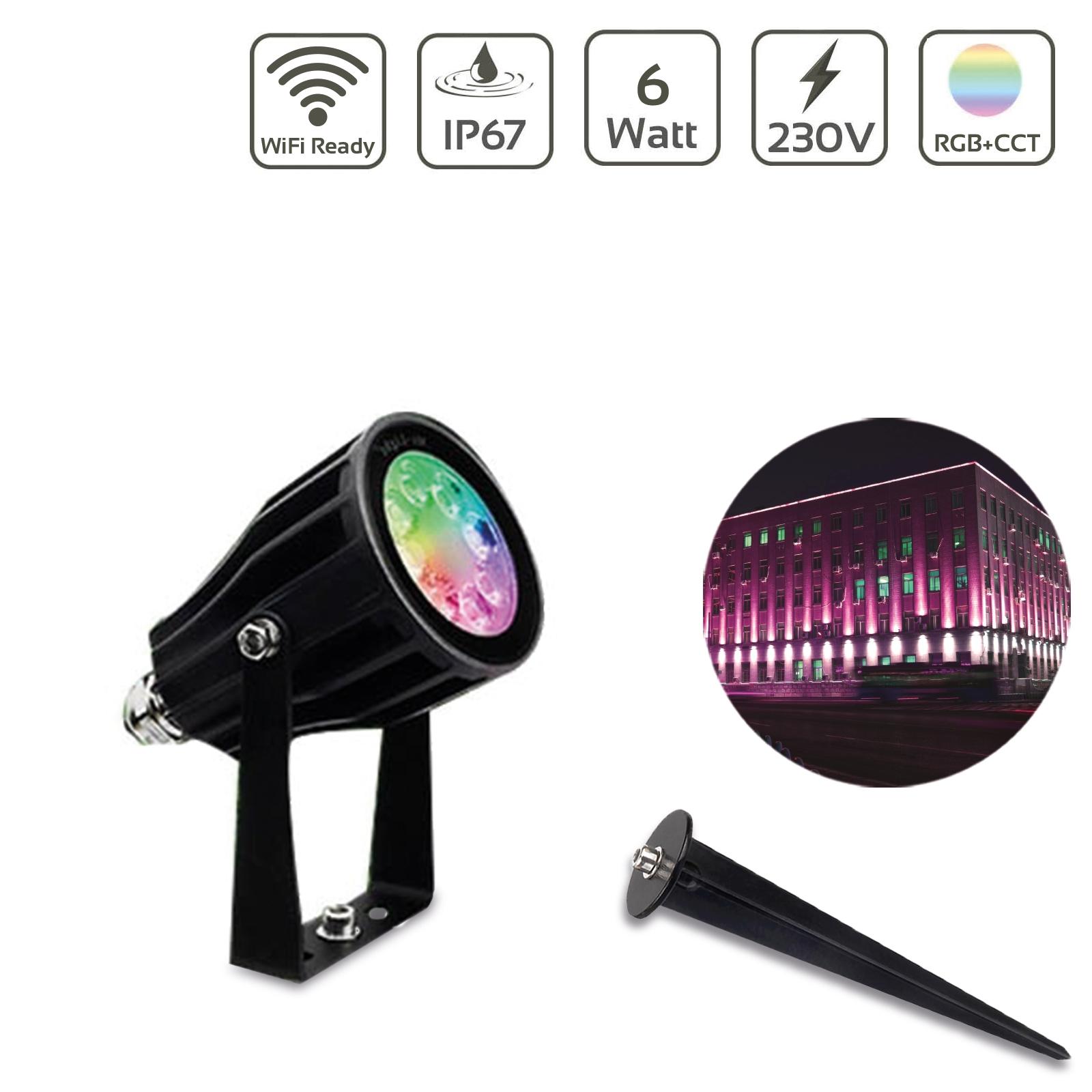MiBOXER 6W RGB+CCT LED Gartenstrahler WiFi Gartenleuchte mit Erdspieß  FUTC04