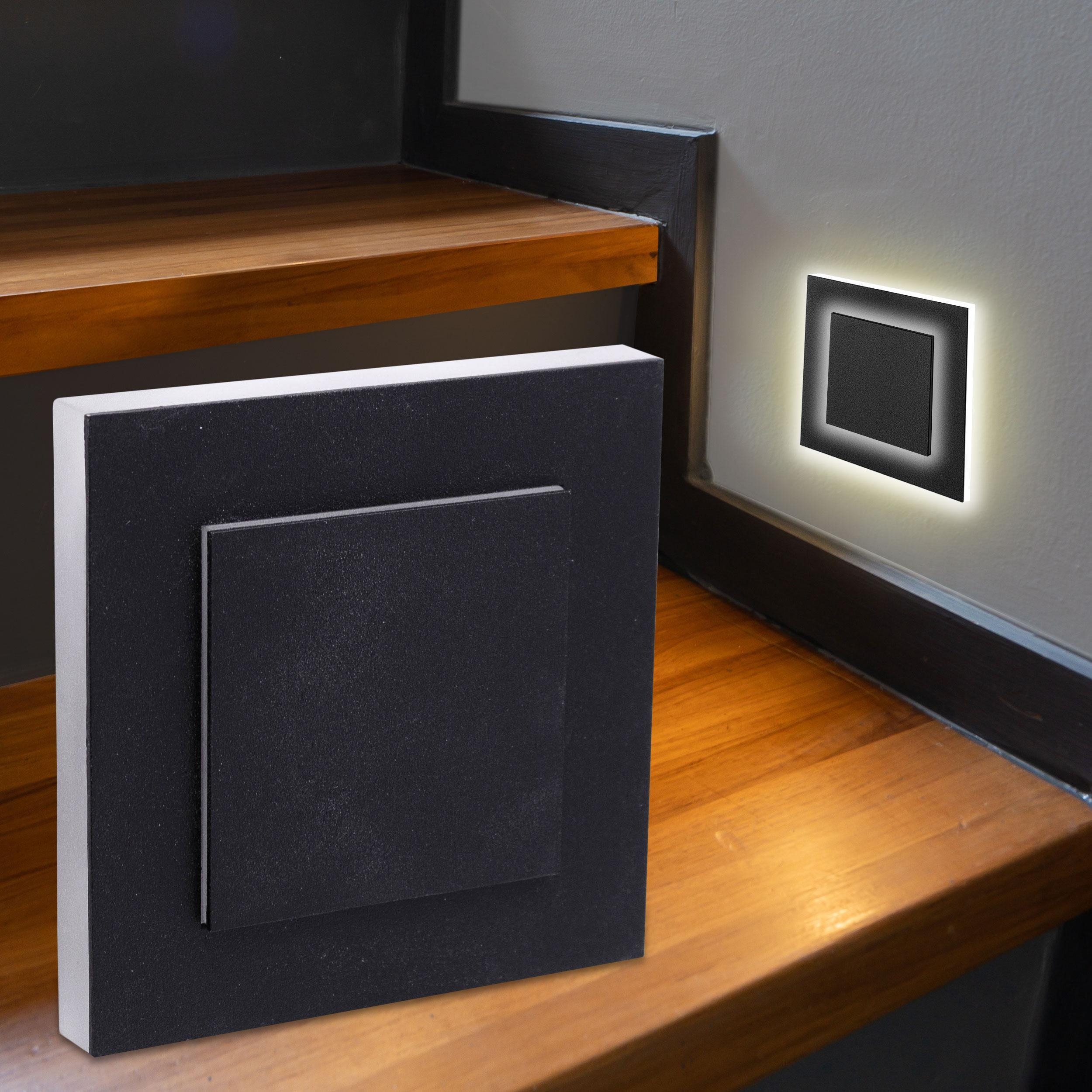 LED Treppenbeleuchtung Wandeinbauleuchte Warmweiß 230V 1.5W schwarz Lichtaustritt seitlich/doppelt