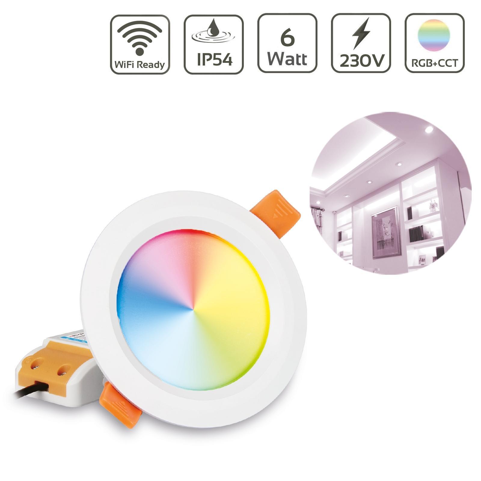 MiBoxer LED Einbaustrahler RGB+CCT 6W IP54 Ø111mm 2,4GHz WiFiready FUT063