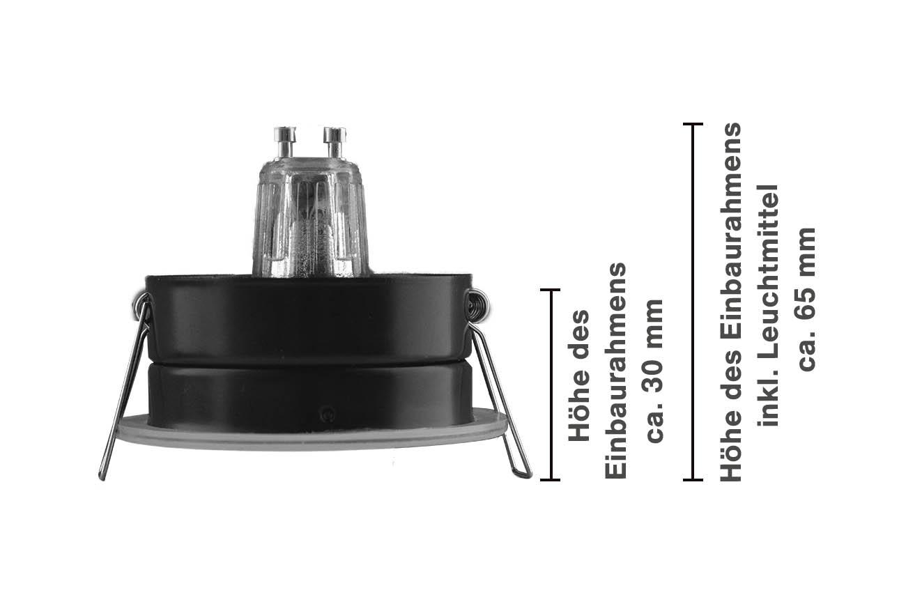 Einbaurahmen IP65 Ausschnitt Ø68mm + Klemmring Alu weiß rund