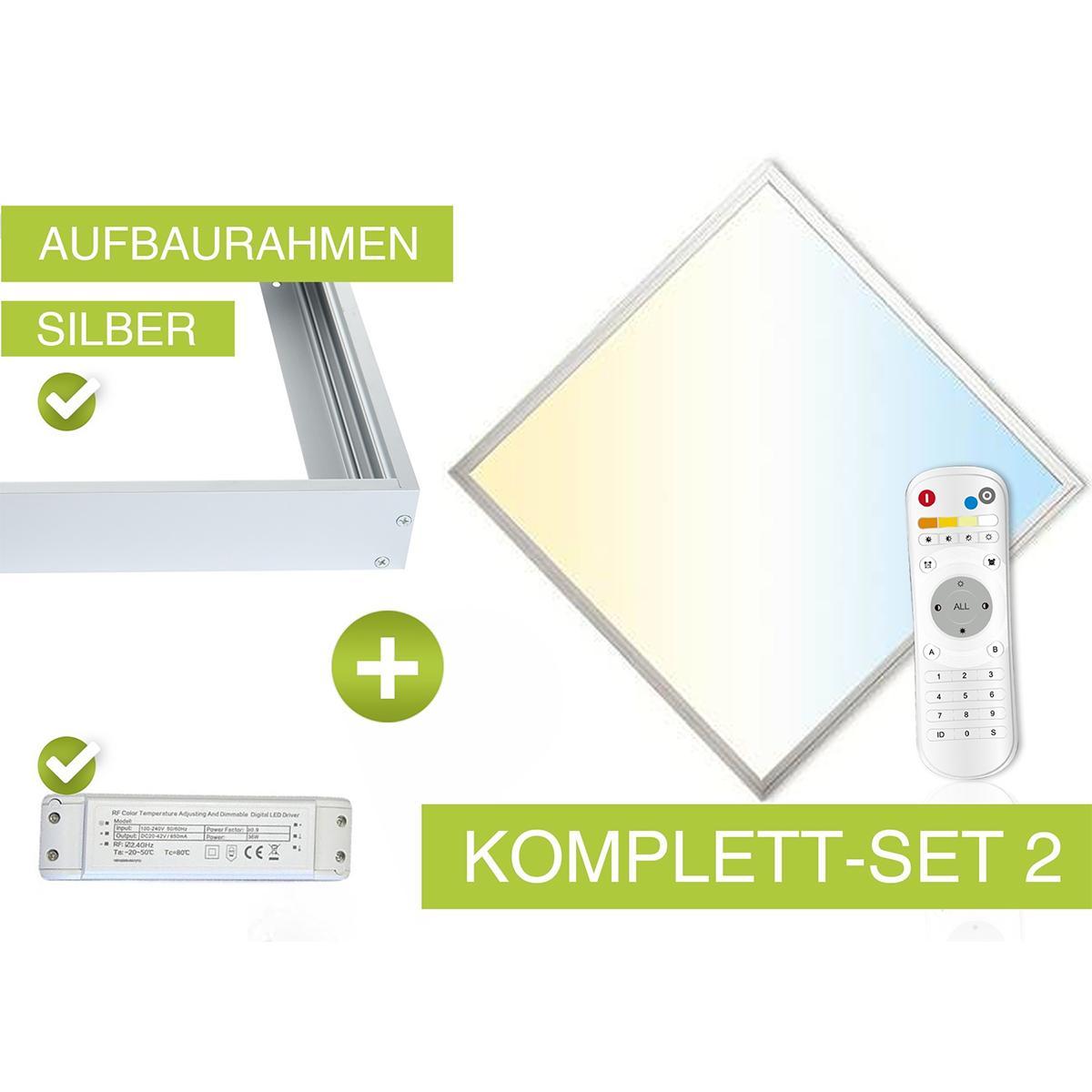 CCT LED Panel Set 62x62cm 36W 3000K-6000K inkl. Aufbau-Rahmen silber, Netzteil und FB