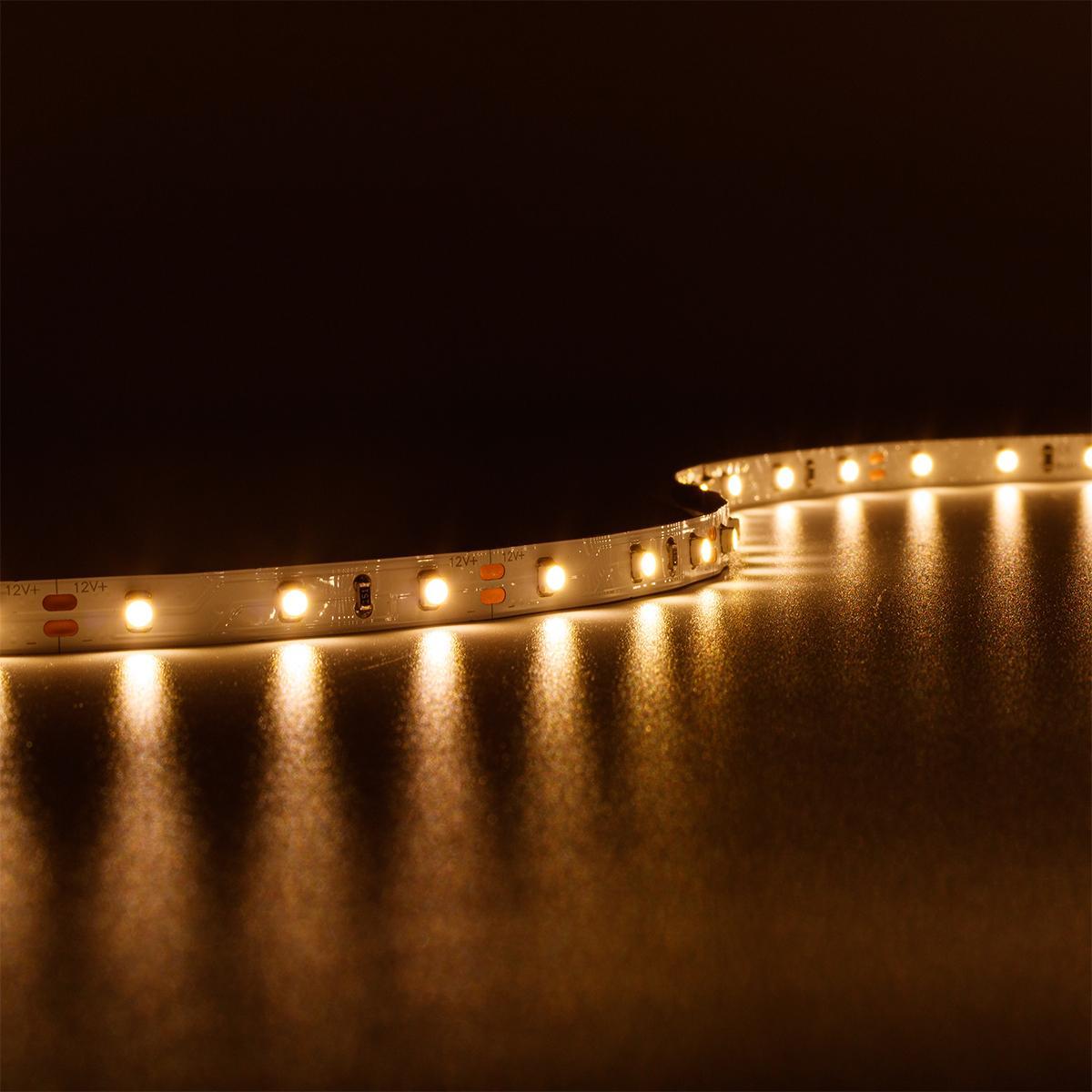 Strip Warmweiß 12V LED Streifen 5M 4,8W/m 60LED/m 8mm IP20 3000K