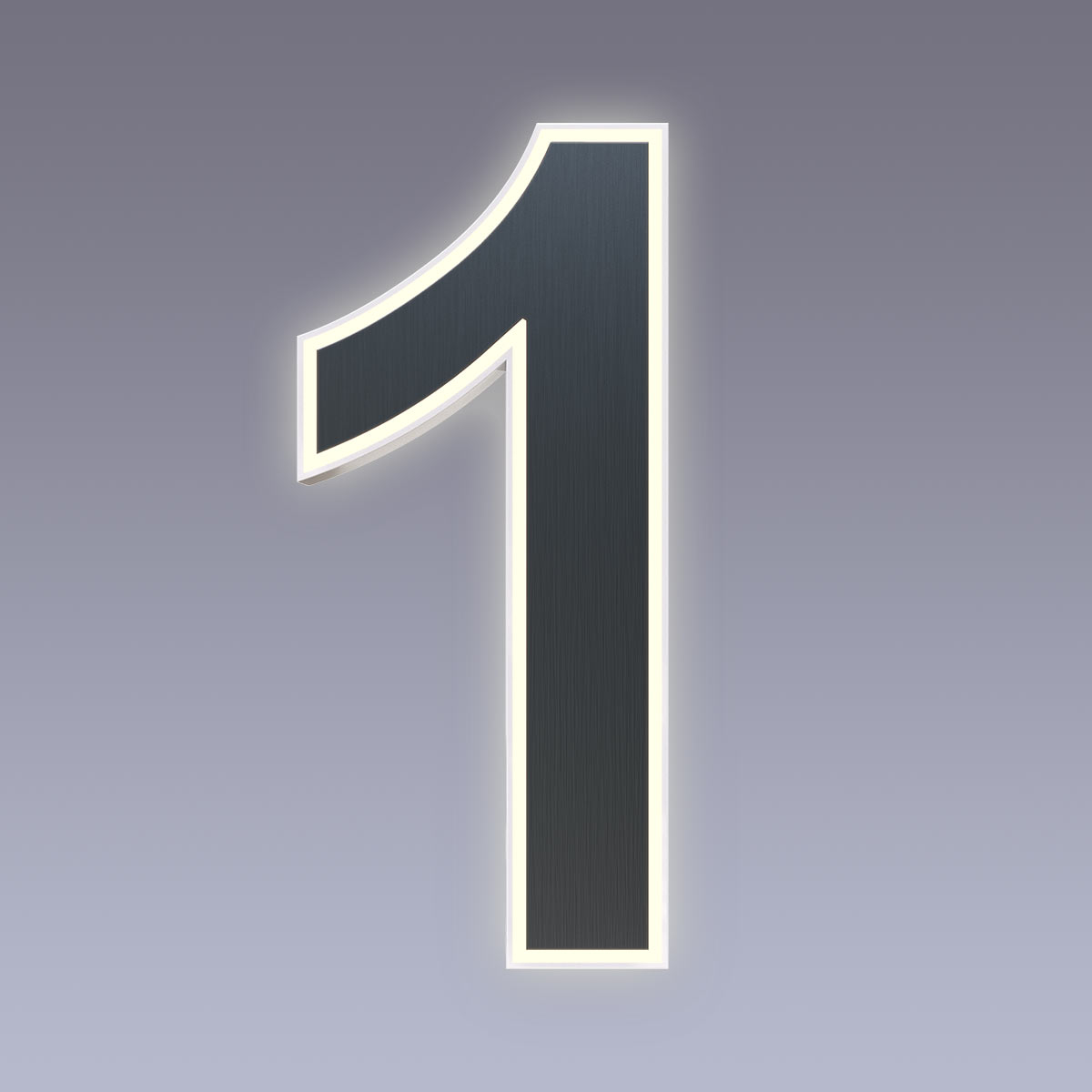 Cover für 15cm Hausnummer 1 Edelstahl anthrazit RAL7016 Arial selbstklebend