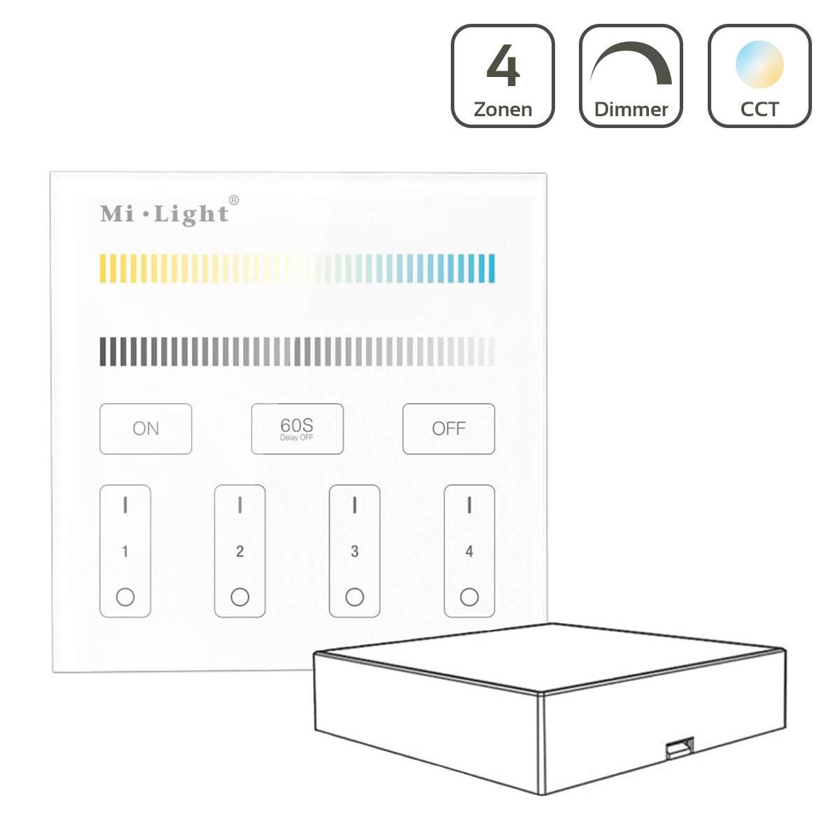 MiBoxer CCT Wandschalter 4 Zonen Aufbau Dimmen Schalten Farbsteuerung batteriebetrieben B2