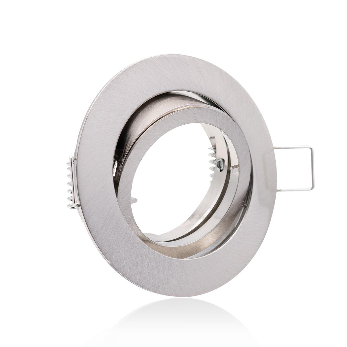 Einbaustrahler  Rahmen rund Edelstahl gebürstet Optik schwenkbar Ring Decken Spot Bajonettverschluss