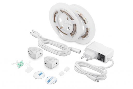 LED Bettlicht Set mit 2 Bewegungssensoren Ein/Aus dimmbar warmweiss