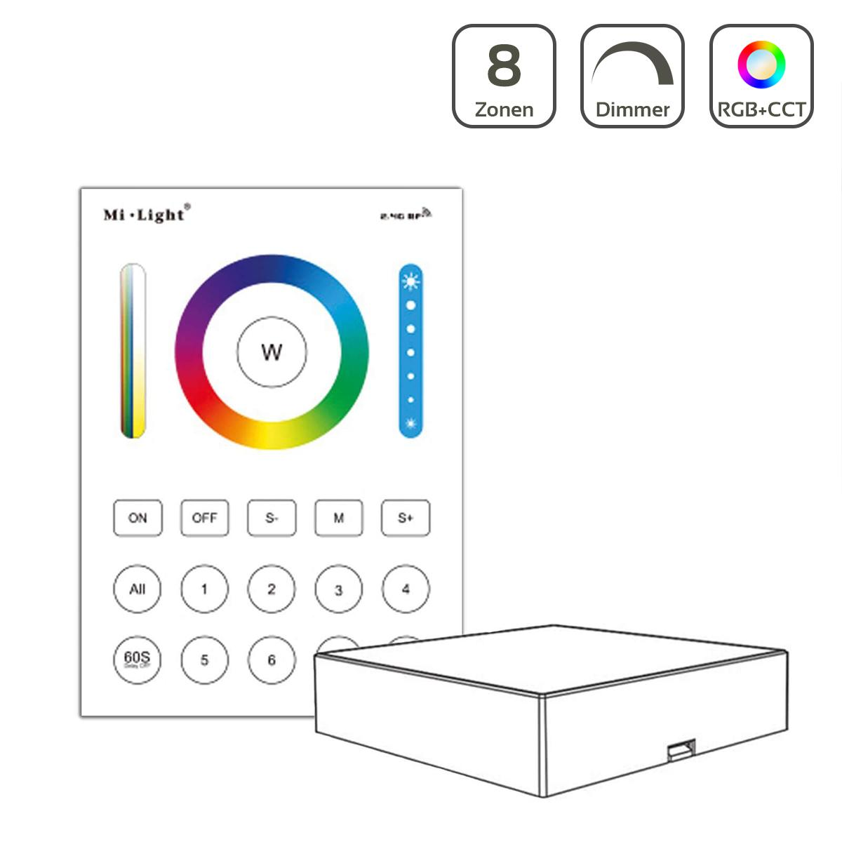 MiBoxer RGB+CCT Wandschalter 8 Zonen Aufbau Dimmen Schalten Farbsteuerung batteriebetrieben B8