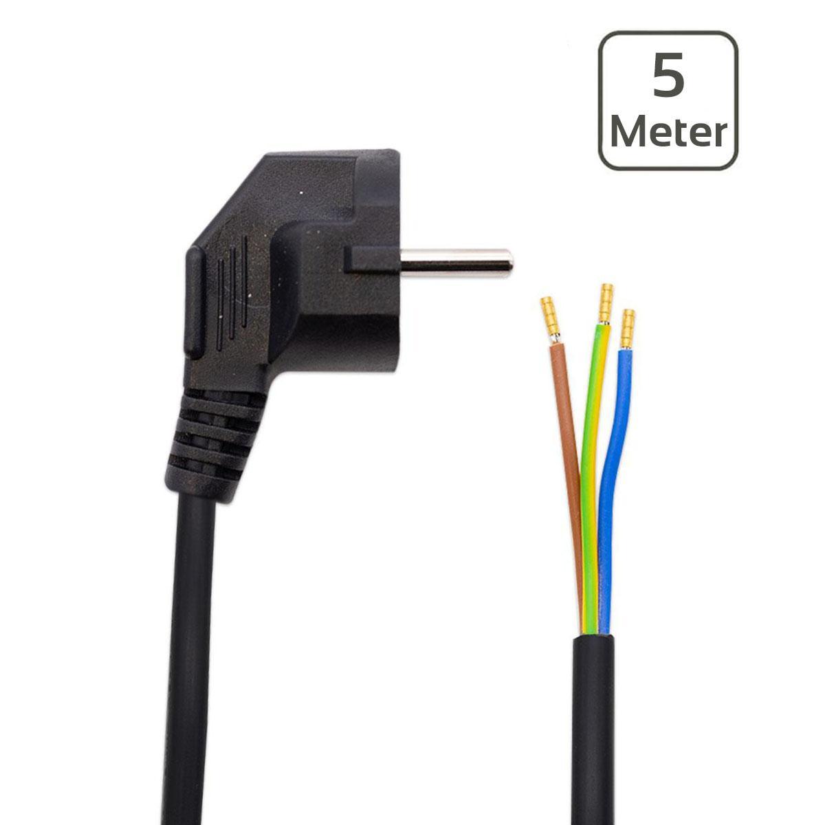 Netzkabel IP44 wetterfest schwarz, 3-adrig mit Schutzkontaktstecker, 500 cm, offene Kabelenden 3-adrig