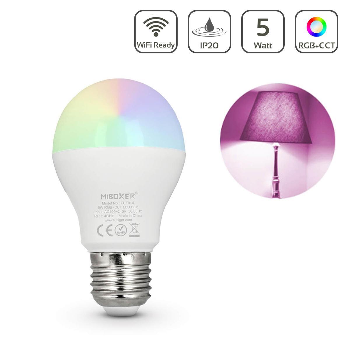 MiBoxer RGB+CCT Lampe  6W E27   WiFi ready   FUT014