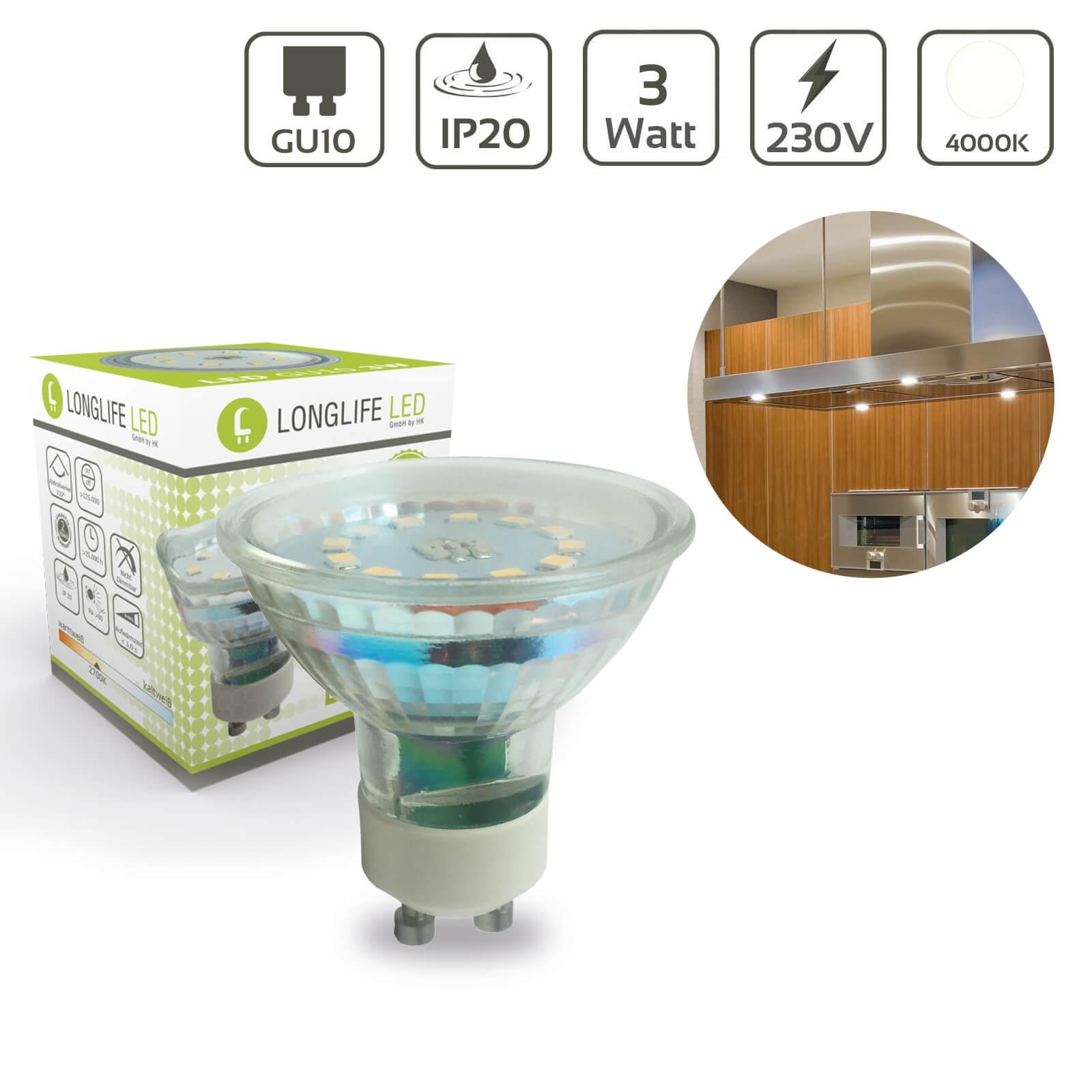 LED Spot GU10 3W 4000K 300lm 110°