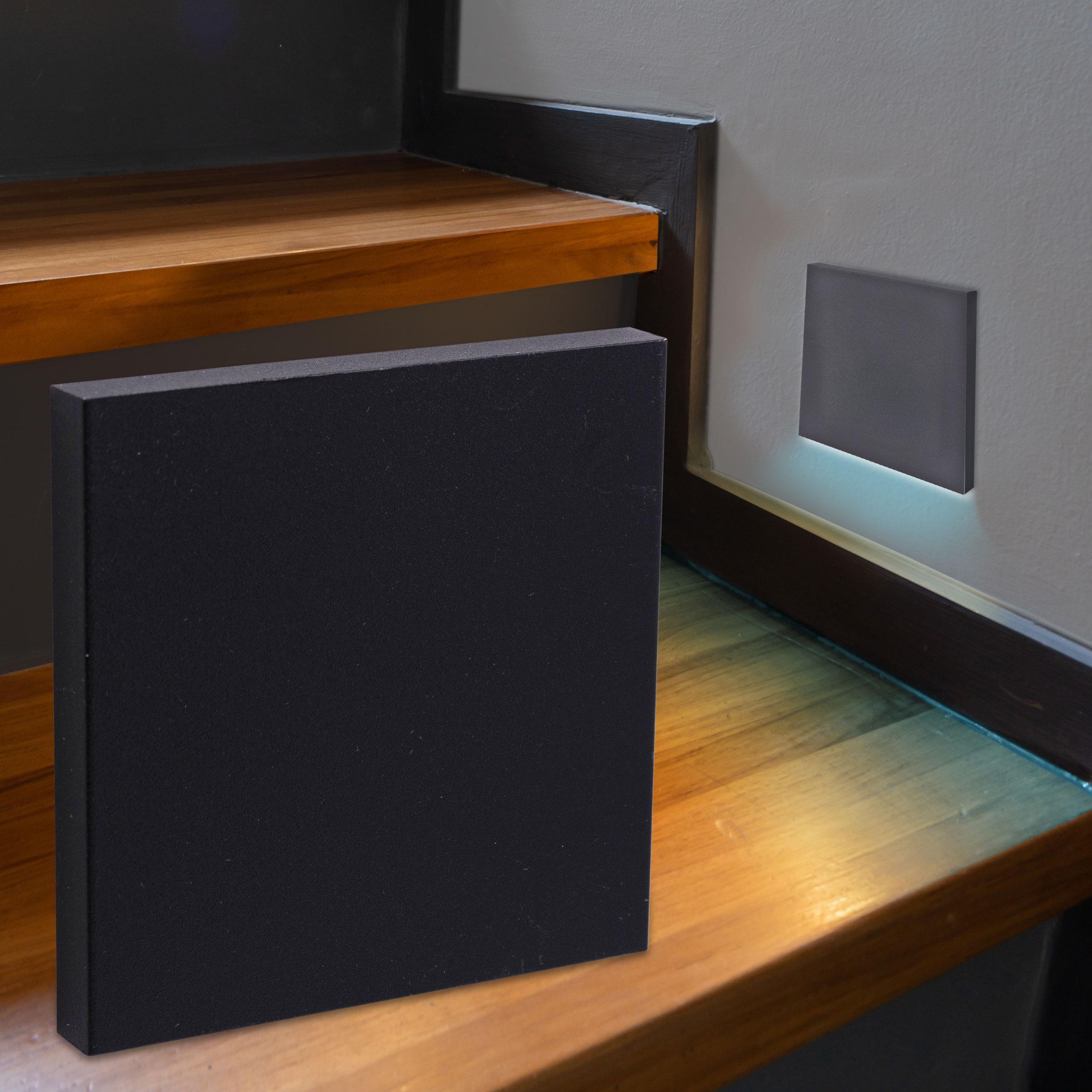 LED Treppenbeleuchtung Wandeinbauleuchte Kaltweiß 230V 1.5W schwarz Lichtaustritt unten