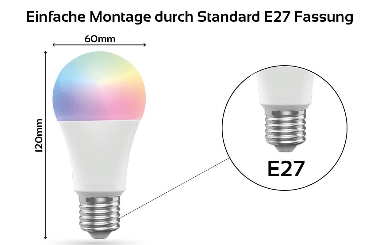 4er Set Smarte E27 Leuchtmittel 10W RGB+CCT - Amazon Alexa Echo Dot (4. Gen):  weiß