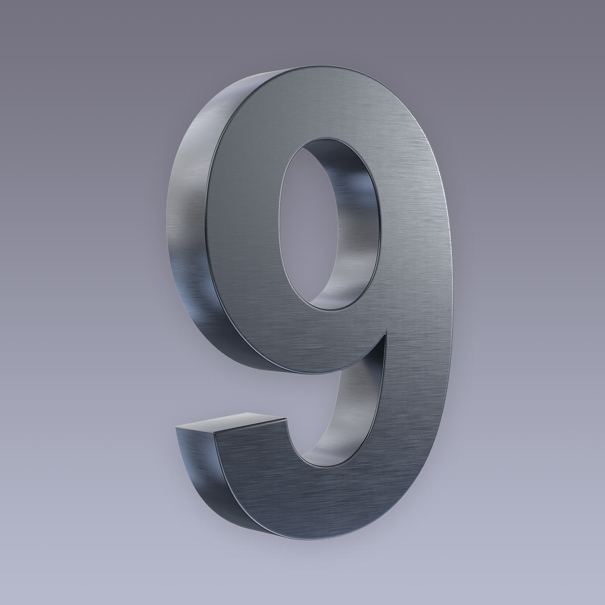 3D Hausnummer 9 Edelstahl anthrazit RAL7016 in 3D Design Arial