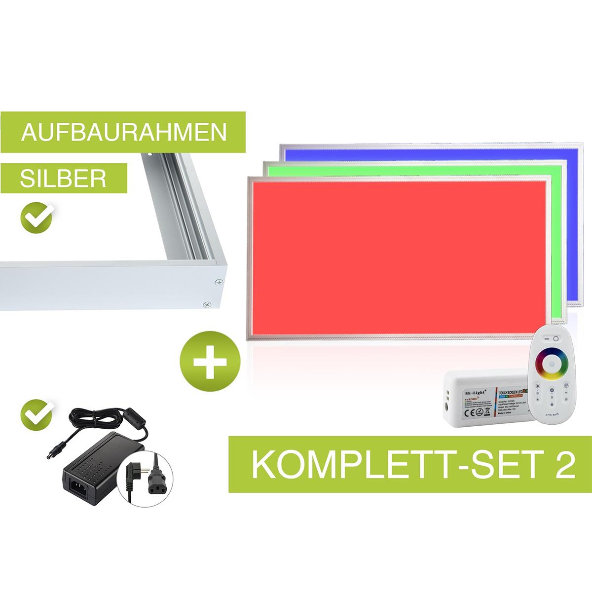 RGB LED Panel Set 2 120x60cm 48W 24V silber