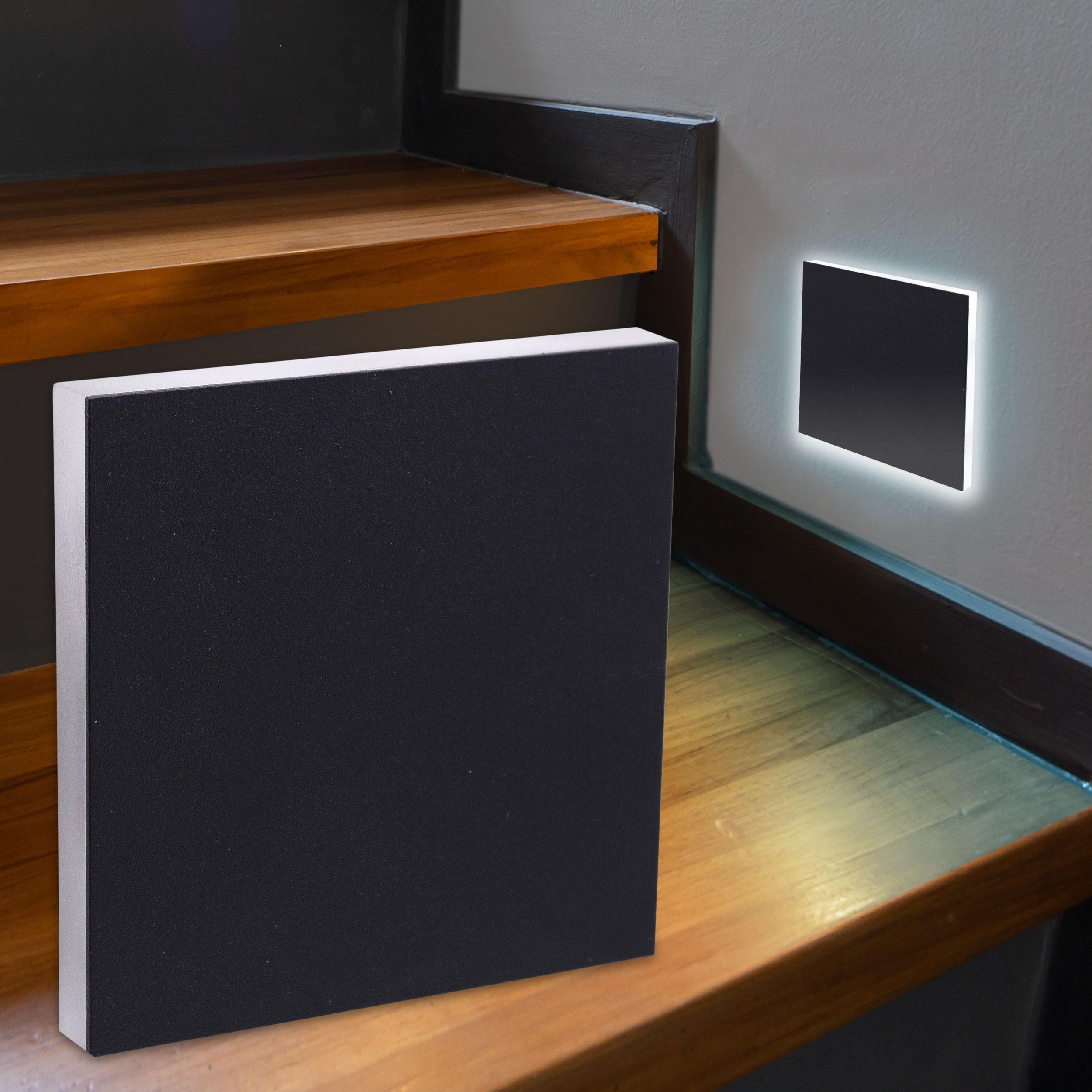 LED Treppenbeleuchtung Wandeinbauleuchte Kaltweiß 230V 1.5W schwarz Lichtaustritt seitlich