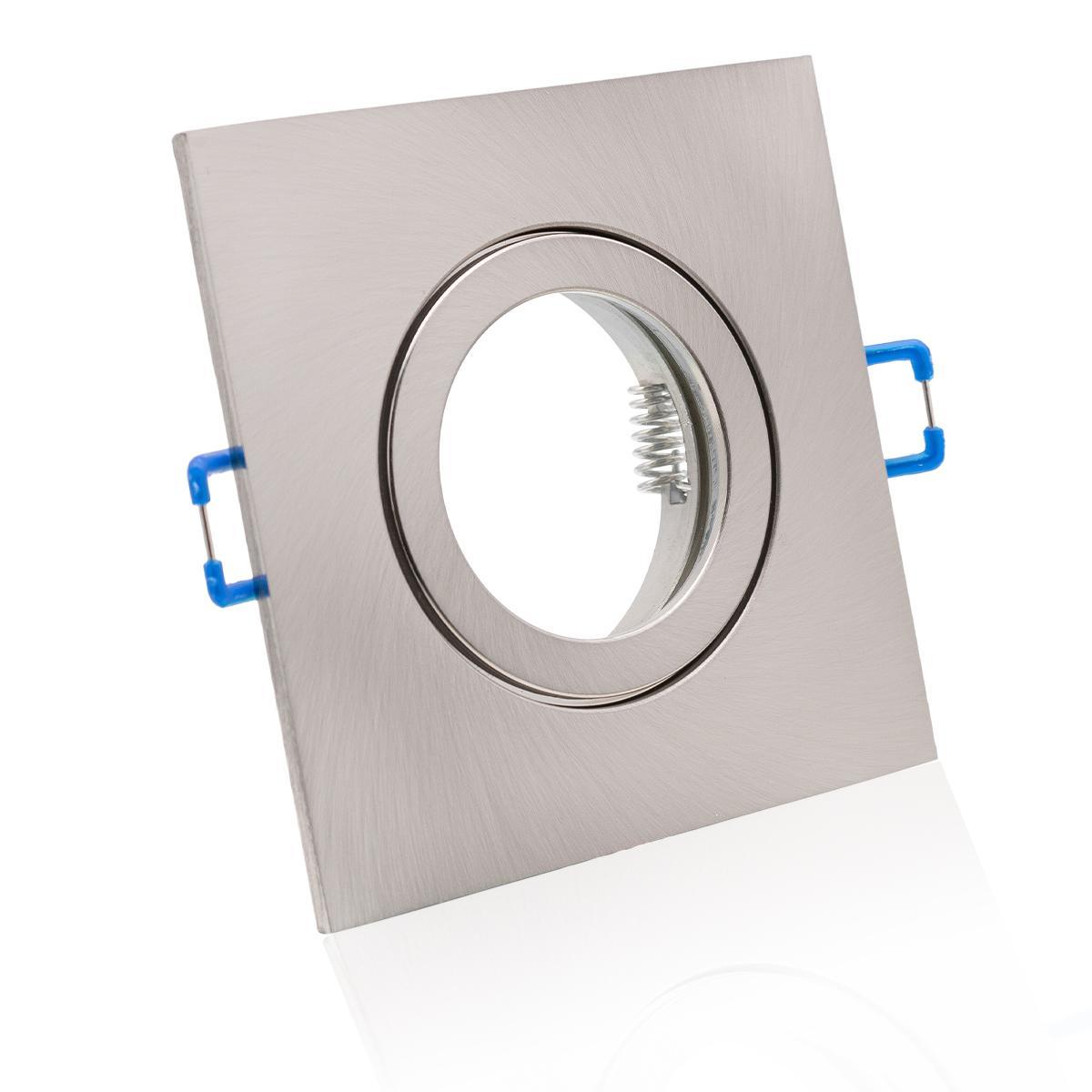 Einbaustrahler Rahmen eckig Edelstahl gebürstet Optik starr IP44 Feuchtraum Klickverschluss