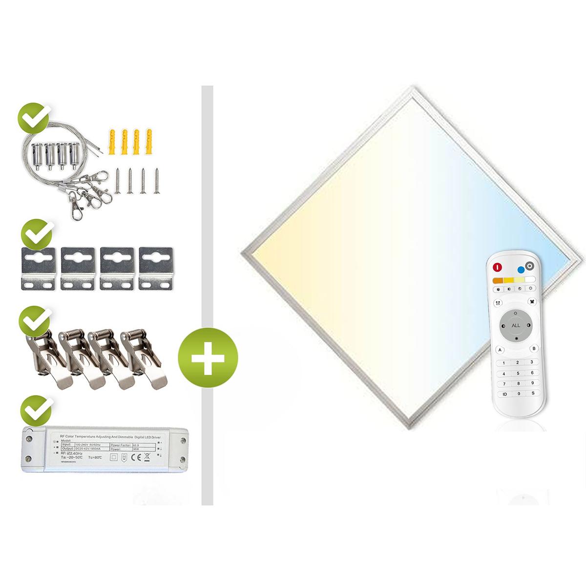 CCT LED Panel Set 1 62x62cm 36W 3000K-6000K silber