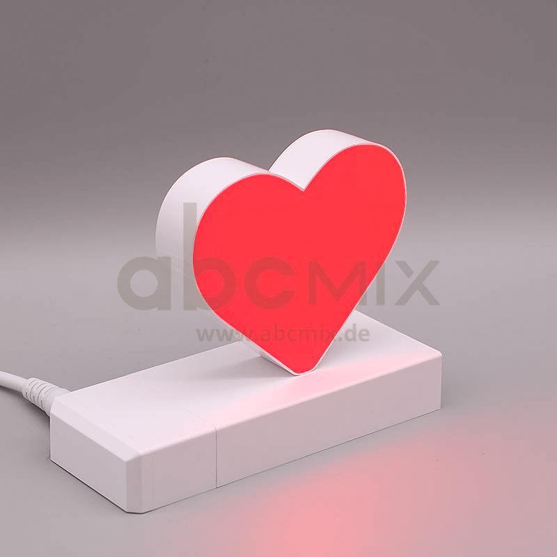 Leuchtbuchstabe EasyClick rotes Herz 75mm Arial 4000K weiß