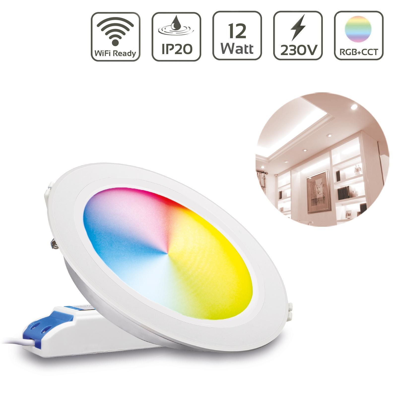MiBoxer LED Einbaustrahler RGB+CCT 12W Ø180mm 2,4GHz WiFi ready