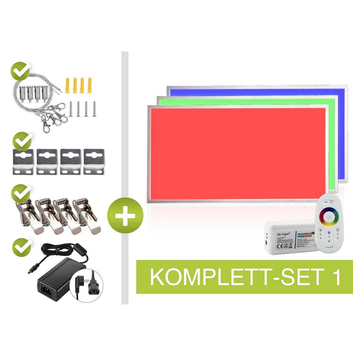 RGB LED Panel Set 1 120x60cm 48W 24V silber