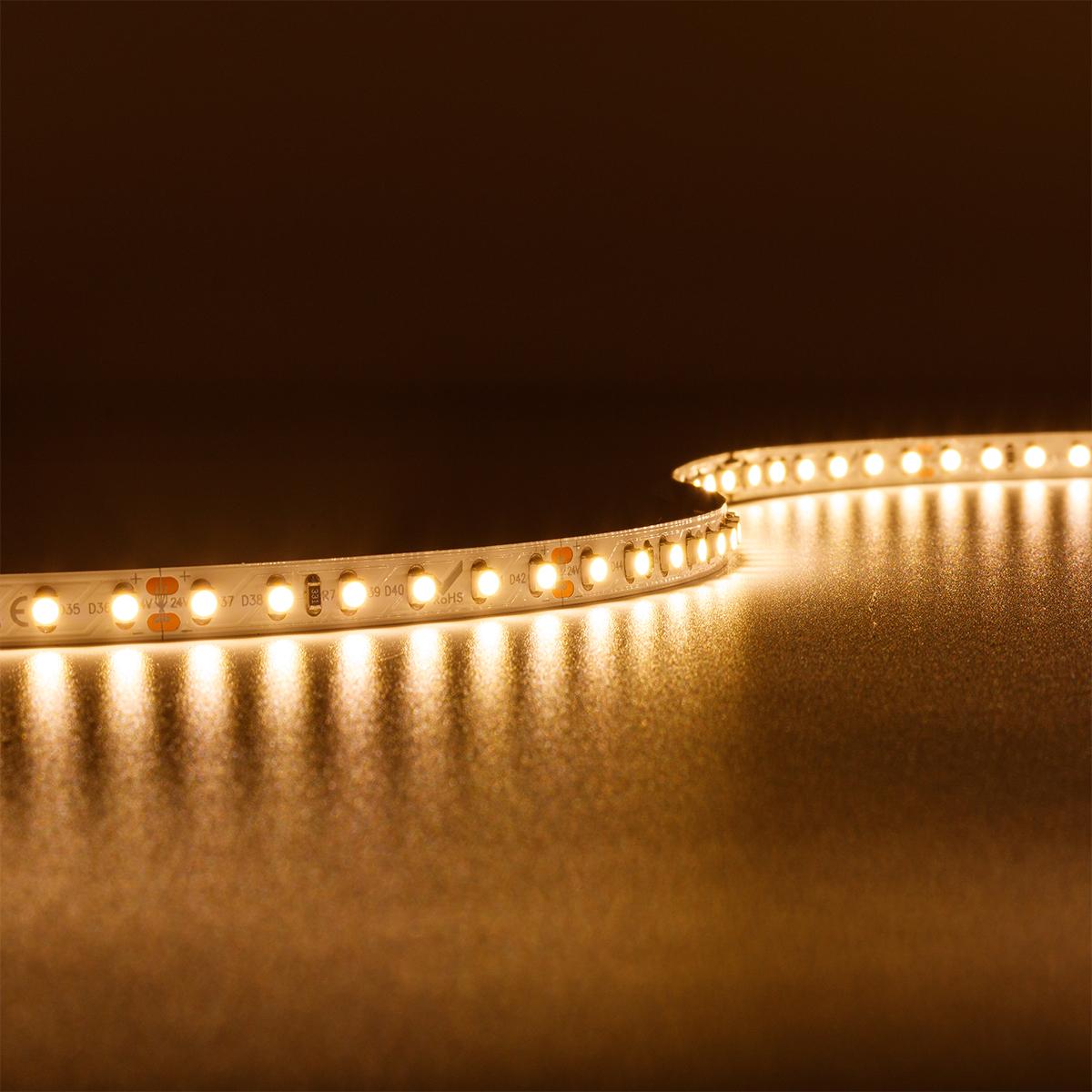 Strip Warmweiß 24V LED Streifen 5M 9,6W/m 120LED/m 8mm IP20 3000K