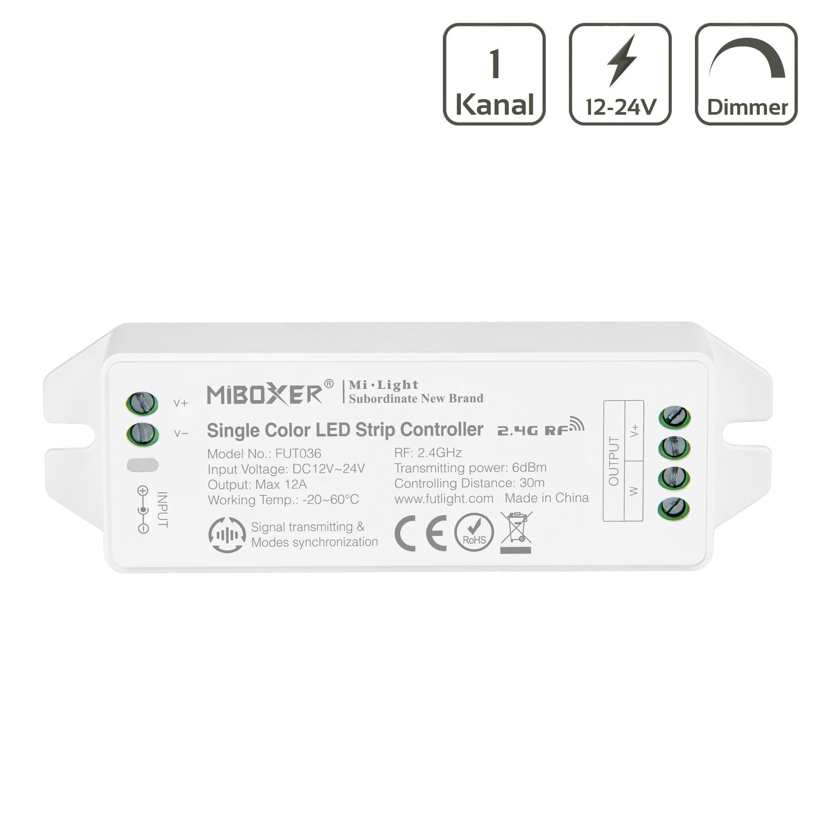 MiBoxer LED Dimmer 1 Kanal 12/24V LED Strip Panel Steuerung FUT036M