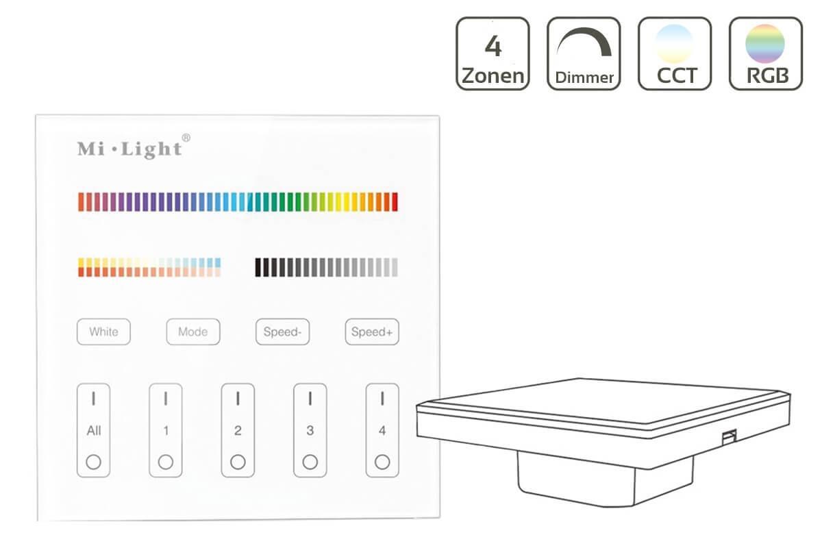 MiBoxer RGB+CCT Wandschalter 4 Zonen Einbau Dimmen Schalten Farbsteuerung 230V Anschluss T4