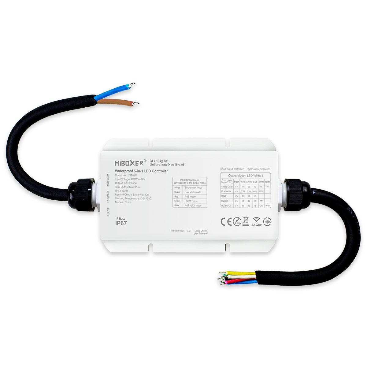 MiBoxer RGB+CCT LED Controller IP67 5 Kanal 12/24V Multifunktion LED Strip Panel Steuerung LS2-WP