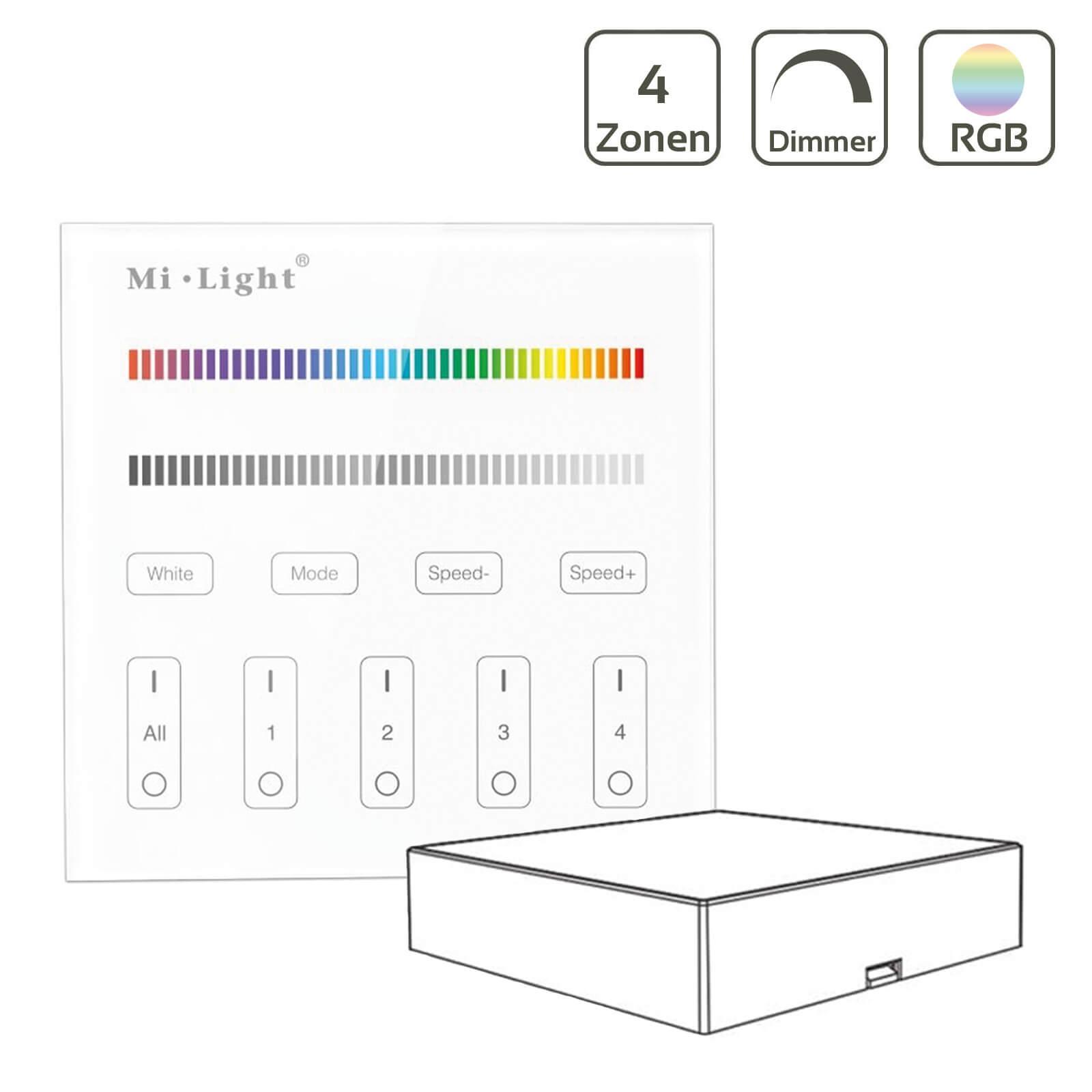 MiBoxer RGBW Wandschalter 4 Zonen Aufbau Dimmen Schalten Farbsteuerung batteriebetrieben B3