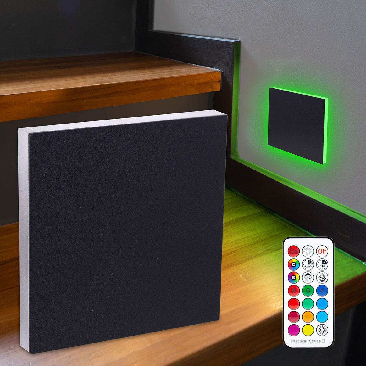 LED Treppenbeleuchtung Wandeinbauleuchte RGB+Warmweiß 230V 3W schwarz Lichtaustritt seitlich