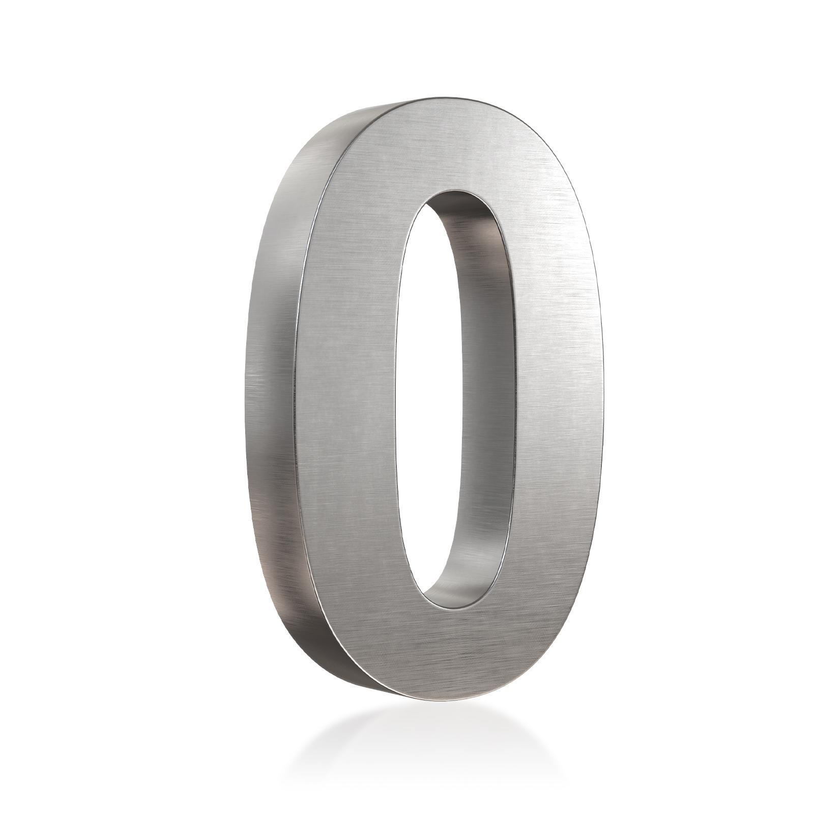 3D Hausnummer 0 Edelstahl in 3D Design Arial V2A