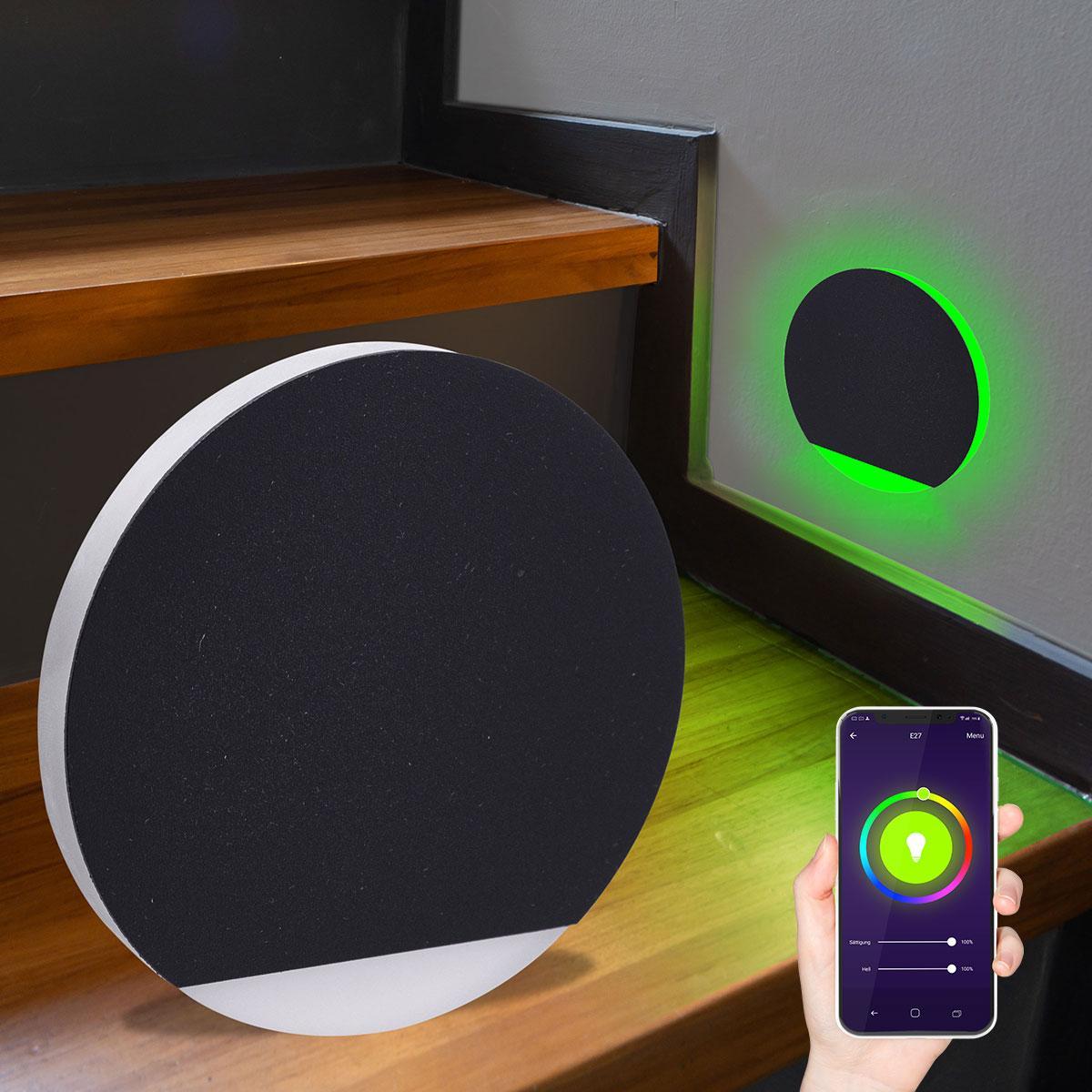 LED Treppenlicht rund Smart Tuya RGB+CCT 230V 5W schwarz Lichtaustritt seitlich&frontal