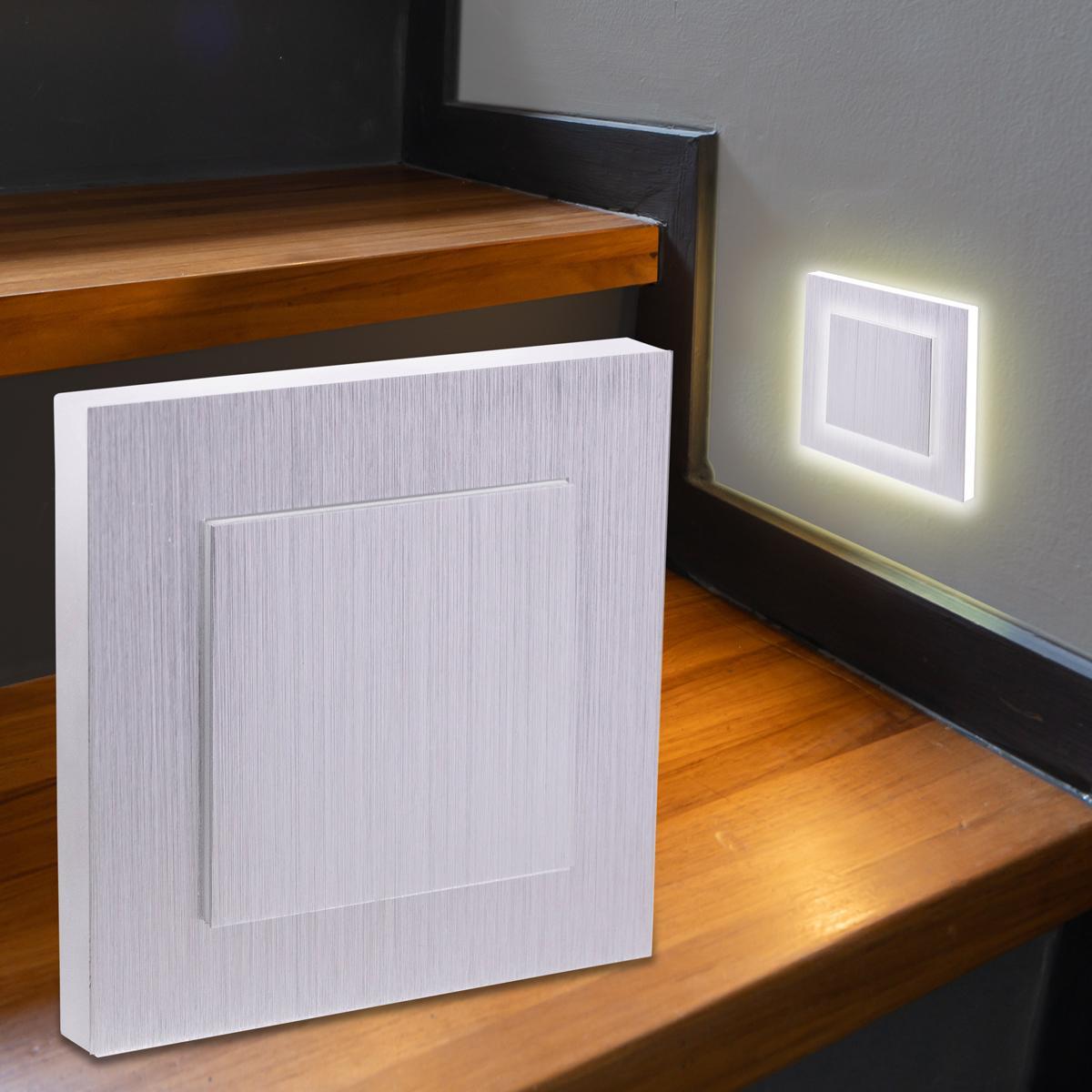 LED Treppenbeleuchtung Wandeinbauleuchte Warmweiß 230V 1.5W Alu-gebürstet Lichtaustritt seitlich/doppelt