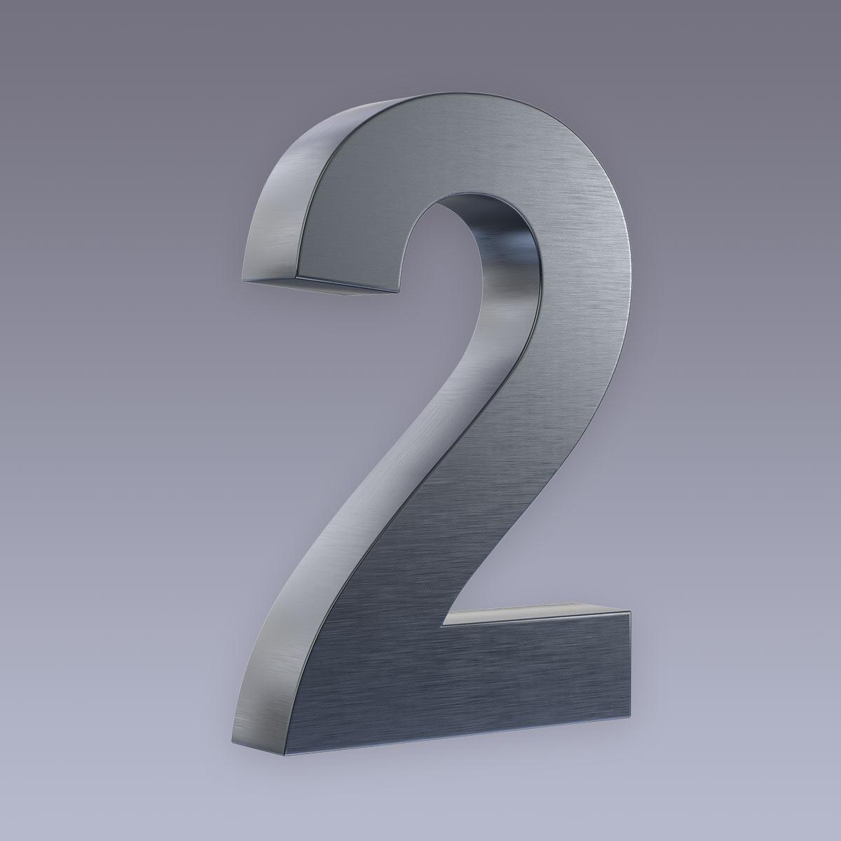 3D Hausnummer 2 Edelstahl anthrazit RAL7016 in 3D Design Arial