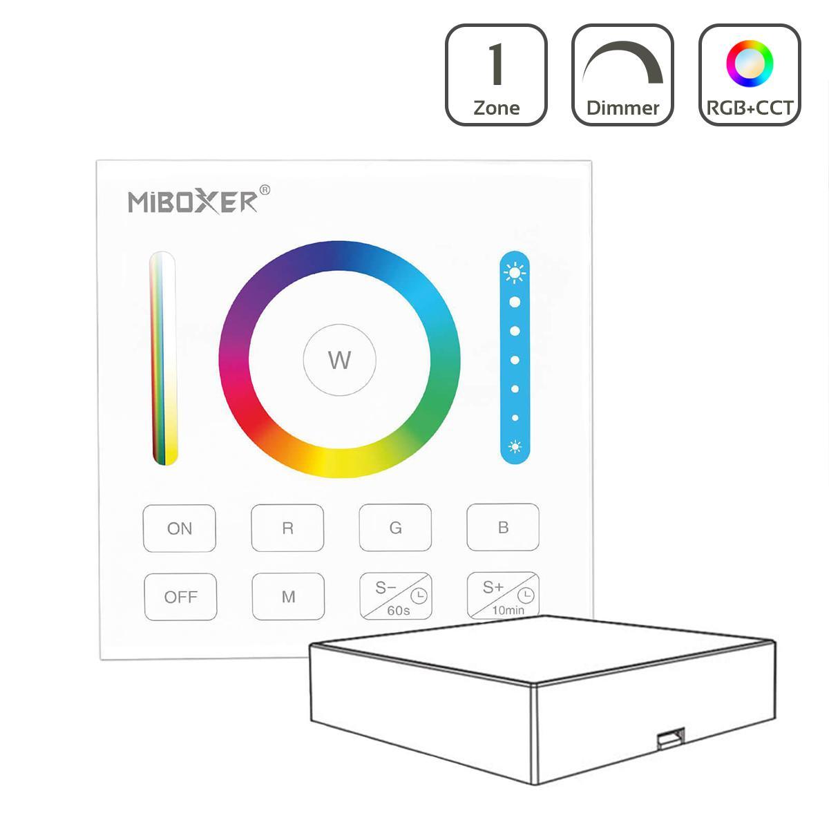 MiBoxer RGB+CCT Wandschalter 1 Kanal Aufbau Dimmen Schalten Farbsteuerung batteriebetrieben B0