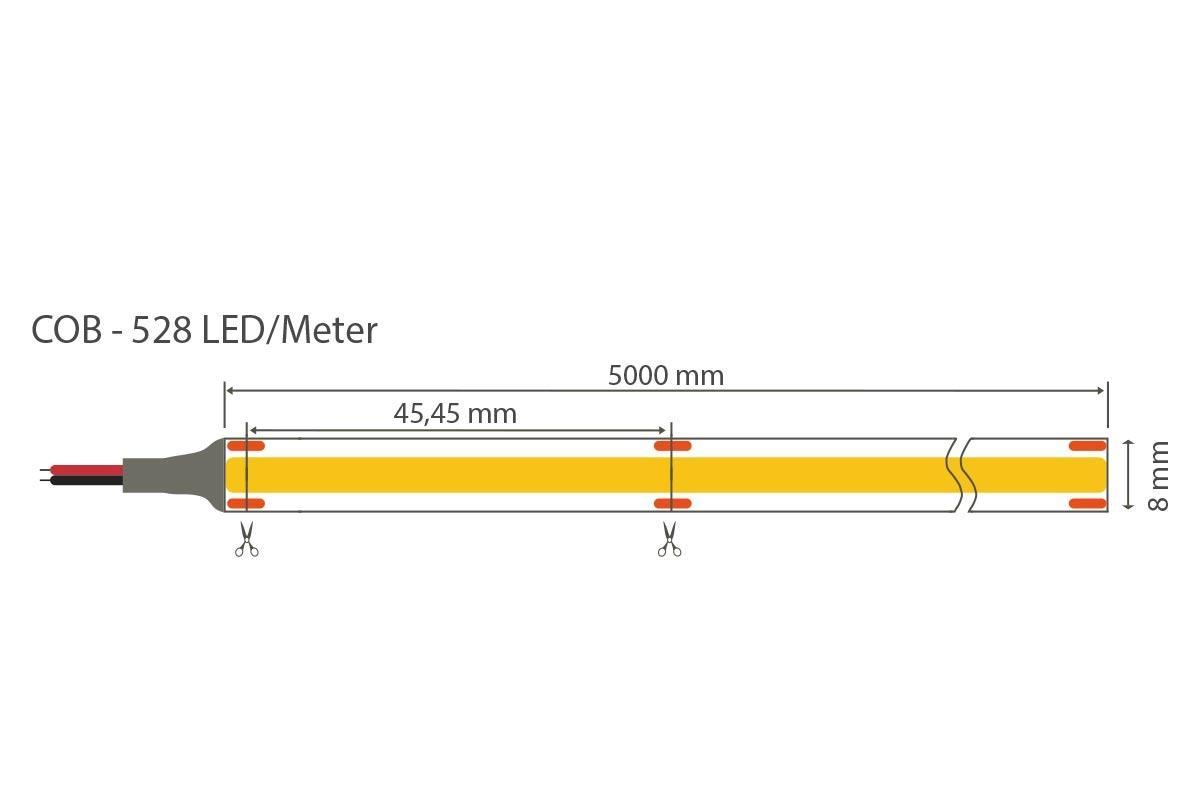 COB Warmweiß 24V CRI90 LED Streifen 5M 10W/m 528LED/m 8mm IP20 3000K