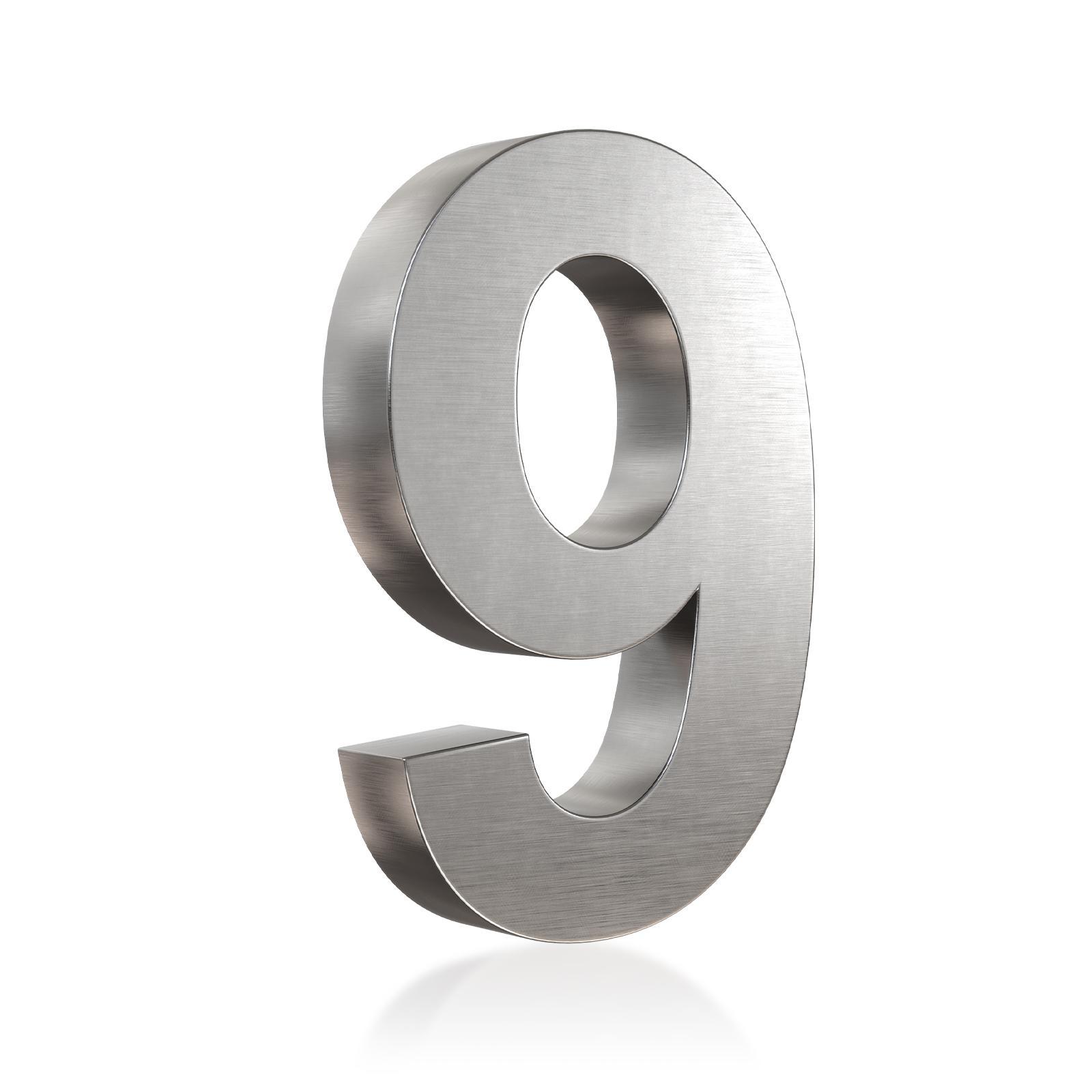 3D Hausnummer 9 Edelstahl in 3D Design Arial V2A