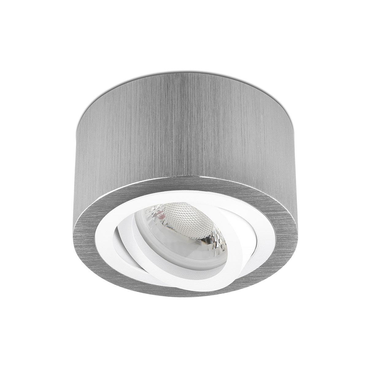 Flacher Aufbaustrahler, silber gebürstet, runde Form - Abdeckring: weiß - LED Modul: 3000K mit Linse