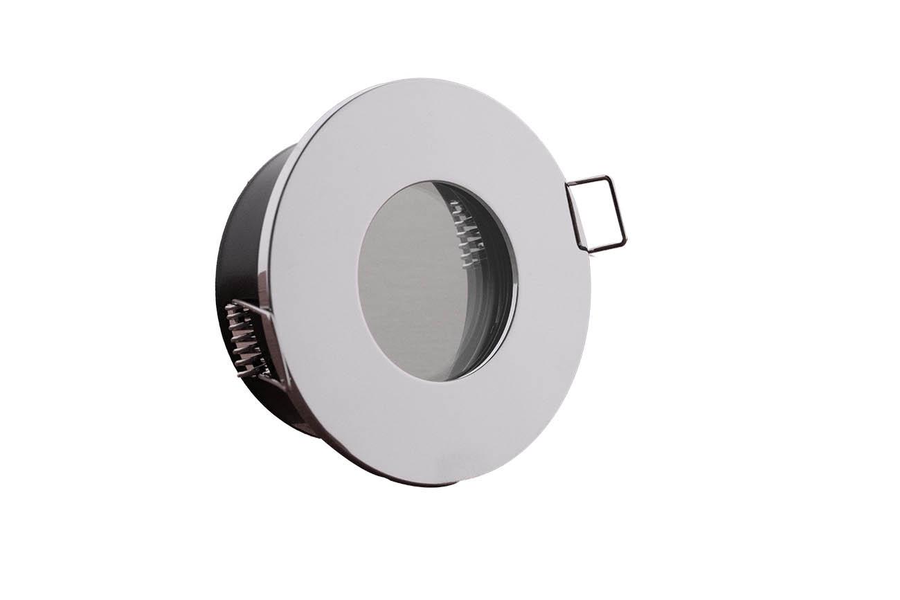 Einbaurahmen IP65 Ausschnitt Ø68mm + Klemmring Alu Chrom rund