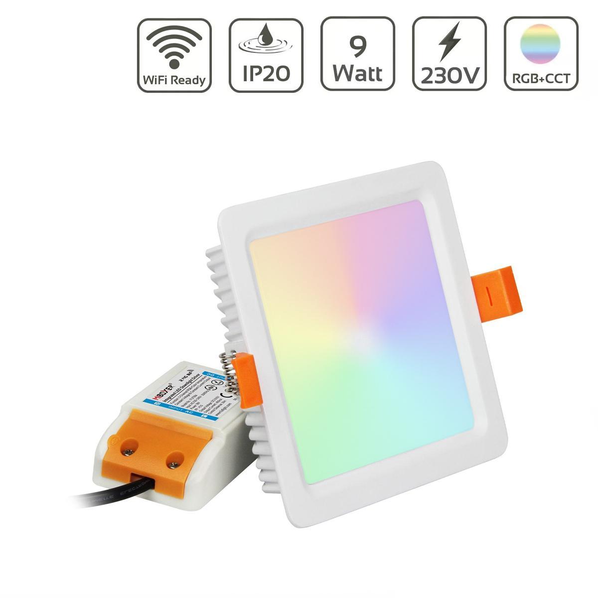 MiBoxer LED Einbaustrahler RGB+CCT 9W 105x105mm 2,4GHz WiFiready FUT064