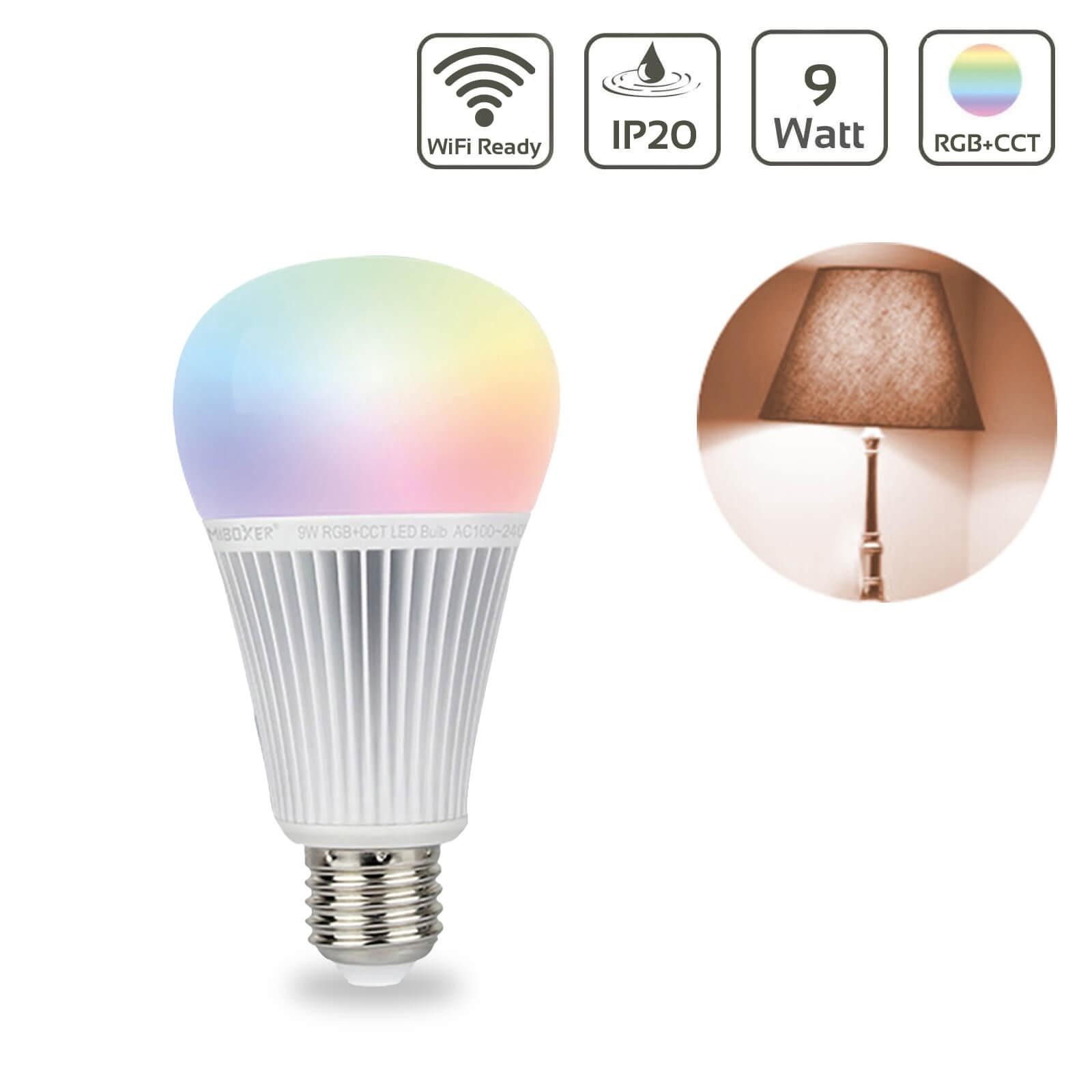 MiBoxer RGB+CCT Lampe 9W E27 | 2.4GHz WiFi ready | FUT012