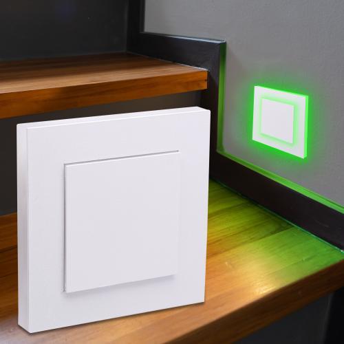LED Treppenbeleuchtung Wandeinbauleuchte RGB+Warmweiß 230V 3W weiß Lichtaustritt seitlich/doppelt