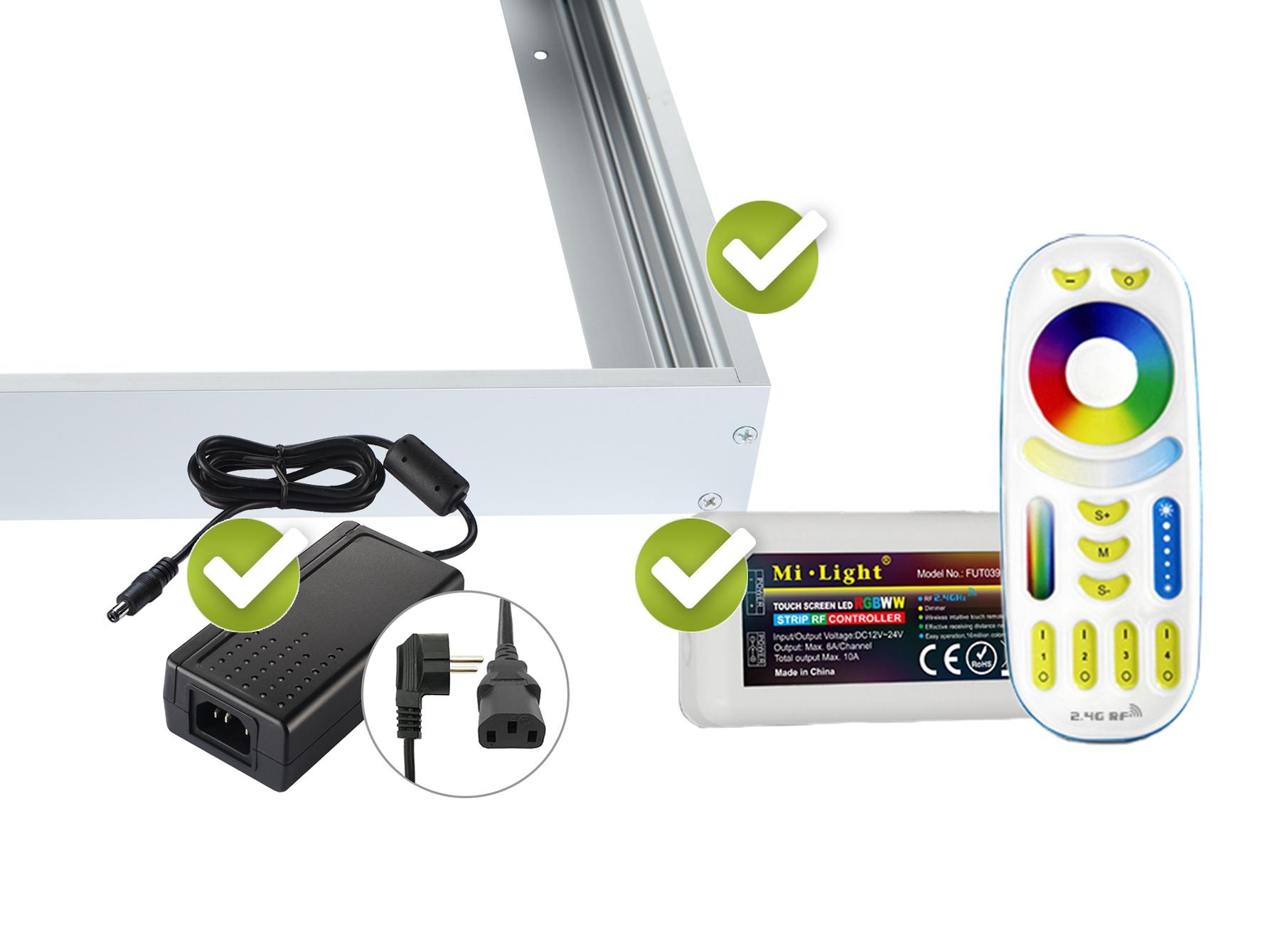 RGB+CCT LED Panel Set 2 62x62cm 44W 24V silber