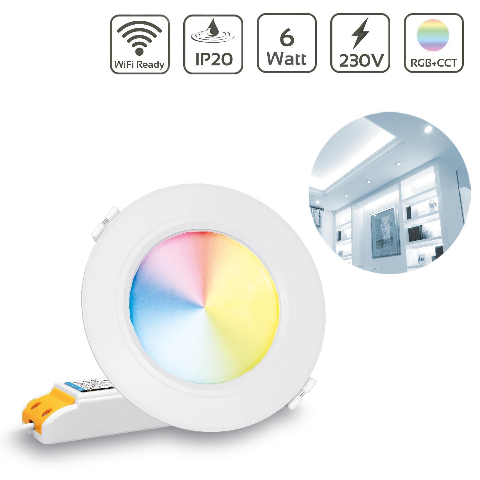 MiBoxer LED Einbaustrahler RGB+CCT 6W Ø118mm 2.4GHz, WiFi ready FUT068